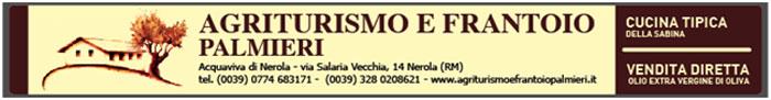 Banner Azienda Agricola e Frantoio Palmieri. Vendita diretta in frantoio. Olio Exravergine di Oliva dal cuore della Sabina a Nerola (Roma)