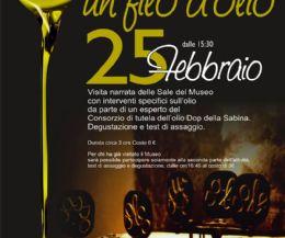 Locandina: al Museo dell'Olio della Sabina di Castelnuovo di Farfa olio e cultura a braccetto