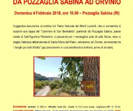 Locandina: Il cammino di San Benedetto, da Pozzaglia Sabina ad Orvinio