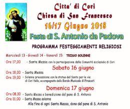 Locandina: Festa di Sant'Antonio da Padova a Cori