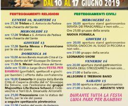 Locandina: Festeggiamenti in onore di Sant'Antonio da Padova