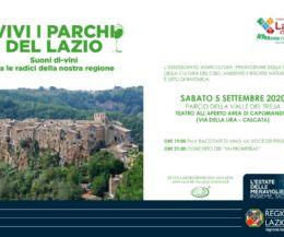 """Locandina: Vivi i Parchi del Lazio. Suoni """"di-vini"""" tra le radici della nostra Regione"""
