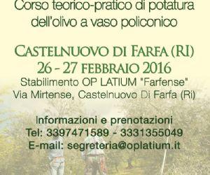 Locandina: Corso di potatura dell'olivo a Castelnuovo di Farfa