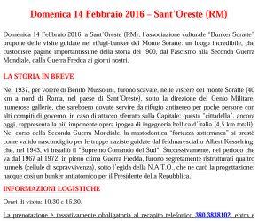 Locandina: SAN VALENTINO NEI RIFUGI-BUNKER DEL MONTE SORATTE