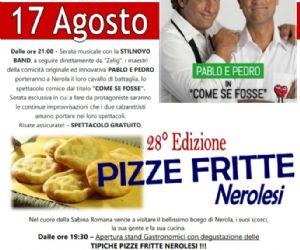 Locandina: Pizze fritte nerolesi e spettacolo di cabaret con Pablo e Pedro